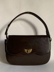 Vintage 1970s Brown Synthetic Handbag Shoulder Bag Light Brown Fabric Lining.