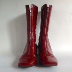 Bertie Oxblood Patent Leather Zip Front Mid Calf Length Boots UK Size 7 EU 40