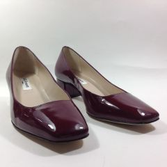 "LK Bennett Patent Leather Burgundy Court Shoe 1.5"" Block Heel Semi Round Toe UK 3 EU 36"