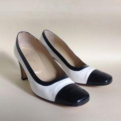 Soré Black & White Leather 1980s Vintage Classic 3 Inch Heel Court Shoe Size UK 4