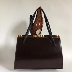 Vintage 1950s Well Loved Handbag Brown Leather With Buff Suede Lining Mad Men