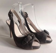Zara Grey Suede Leather Grey Slingback Peep Toe High Heel Shoe UK 6 EU 39