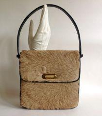 1960s Kangaroo Vintage Handbag Shoulder Bag Black Suede & Leather Lining