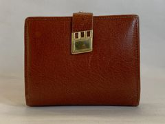 Vintage Well Loved Coin Purse Wallet Tan Leather Kiss Clasp Brown Leather Lining