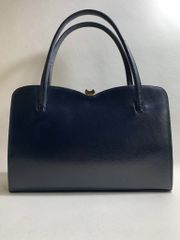 Blue Leather 1960s Vintage Handbag Kelly Bag With Sweetheart Top With Buff Suede Lining