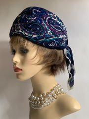 "Vintage 1960s Purple Paisley Turban Style Rayon Fabric Hat 22"" Fully Lined"