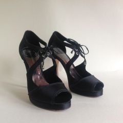 French Connection Black Satin Mary Jane Platform High Heel Shoe UK 4 EU 37