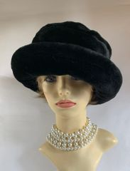 St Michael Vintage 1980s Black Russian Cossack Style Faux Fur Hat With Fabric Lining One Size