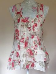 MISO Rose & Ivory Floral Patterned Vintage Style Polyester Top Size 12