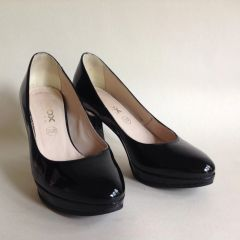"Geox Respira Black Patent Leather 3.25"" Block Heel Court Shoe Size UK 3 EU 35"