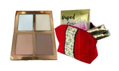 Dupep Cosmetic Contour Light Palette &2Pcs Dollface Lipstick + Red Bag Set