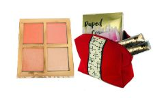 Dupep Cosmetic Blusher Palette &2pcs Dollface Lipstick + Red Bag Set