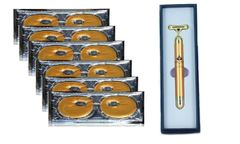 Lior Gold Paris Luxe 24K Golden Eye Mask (6 Pairs) and Facial Massager Set