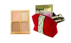 Dupep Cosmetic Highlighters Palette &2Pcs Dollface Lipstick+ Red Bag Set