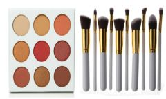 The Burgundy Palette by Duped +10 Pcs Professional Synthetic Brush Set