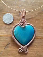 Handmade Copper Rose with Blue Stone Pendant