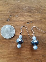 Blue and Gray Bead Earrings