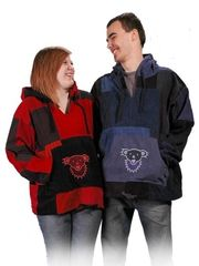 Grateful Dead Dancing Bear Face Red Patchwork Corduroy Hoodie
