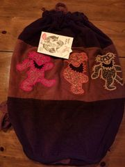 Grateful Dead Dancing Bear Patchwork Corduroy Duffle Backpack