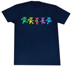 Grateful Dead Multi-Colored Dancing Bears, Solid T-Shirt