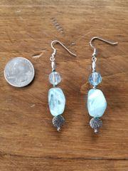 Aqua Blue Bead Earrings