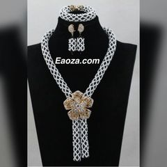 Ze100ze African Nigerian Beads Wedding Necklace Set