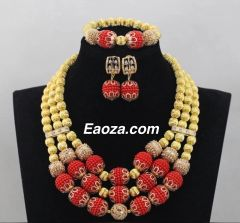 P001 African Nigerian Wedding Ball Beads Necklace Set