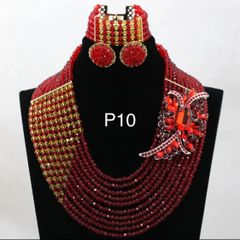 AB12BA Crystal beads necklace set - 10 layers