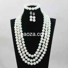 JA100B1 100% Genuine white round Coral beads necklace set