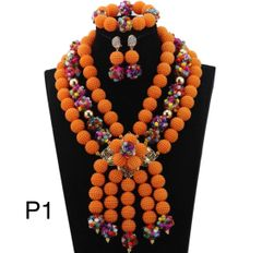 P12345 African Nigerian Wedding Ball Beads Necklace Set