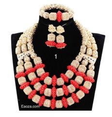 AAZ201SAD Luxury African Nigerian beads necklace set