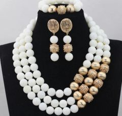 JA100B2 white round Coral beads necklace set