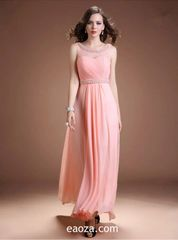 EA00019_ High Quality Long Evening Dress, Prom Dress -beading and crystal belt made of honour dress
