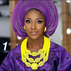 NA100T African Nigerian Beads Wedding Necklace Set