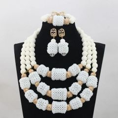 AZ201SAD gold and silver findings, crystal beads and round coral beads necklace set