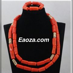ZE100Z2 Natural Coral Beads Wedding Necklace Set