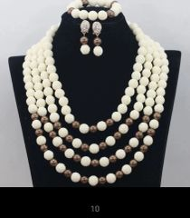 AD105R3 African Nigerian Ball Beads necklace set