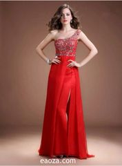 EA00021_ High Quality Long Evening Dress, Prom Dress -beading and crystal belt made of honour dress
