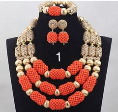 AZ201SER gold findings, crystal beads and round coral beads necklace set