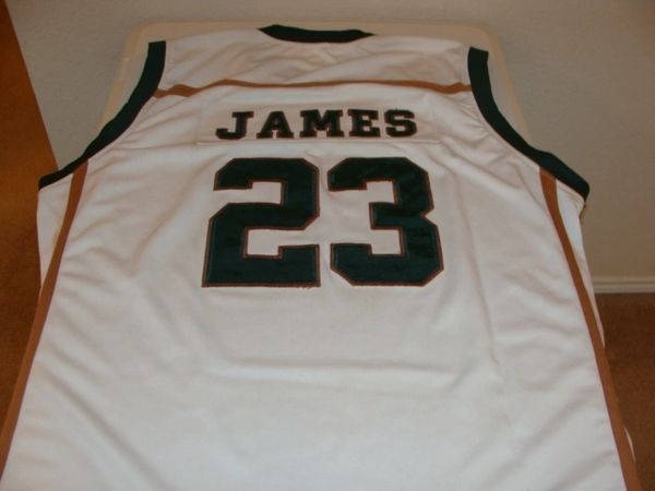 d526082d6 #23 LeBRON JAMES St. Vincent-St. Mary H.S. Irish Forward White Throwback  Jersey | Lone Star Throwbacks