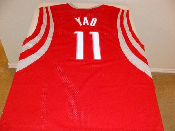 f670bdc3dc17 11 YAO MING Houston Rockets NBA Center Red Reebok Throwback Jersey ...
