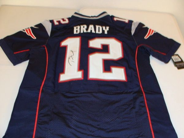 12 TOM BRADY New England Patriots NFL QB Blue Throwback Jersey