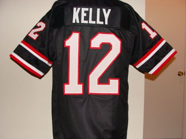 d91a5681a  12 JIM KELLY Houston Gamblers USFL QB Black Throwback Jersey