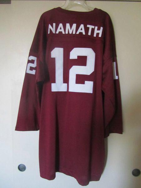 12 JOE NAMATH Alabama Crimson Tide NCAA QB Red Throwback Jersey ... dee0752ab