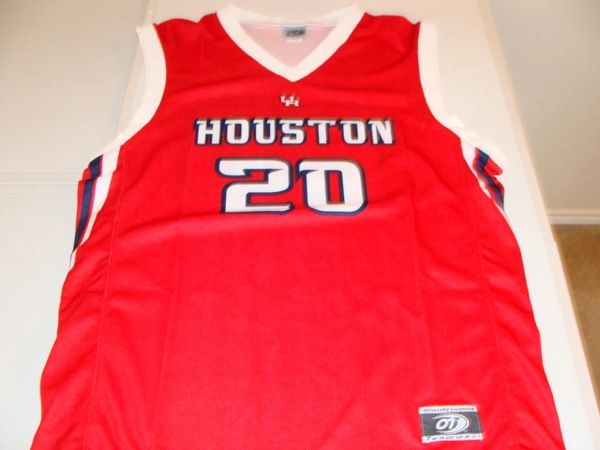 newest d2c6a 2ed39 #20 HOUSTON Cougars NCAA Basketball Red Throwback Team Jersey