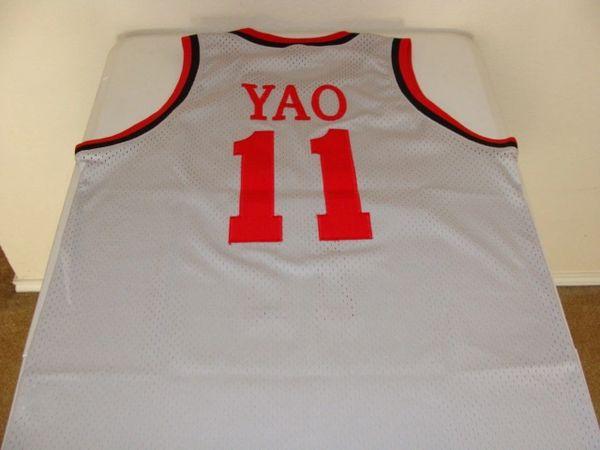 f41304956bc5  11 YAO MING Houston Rockets NBA Center Grey Throwback Jersey