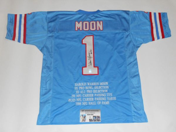 1 WARREN MOON Houston Oilers NFL QB Blue Stats Throwback Jersey  AUTOGRAPHED  a38b04d0e