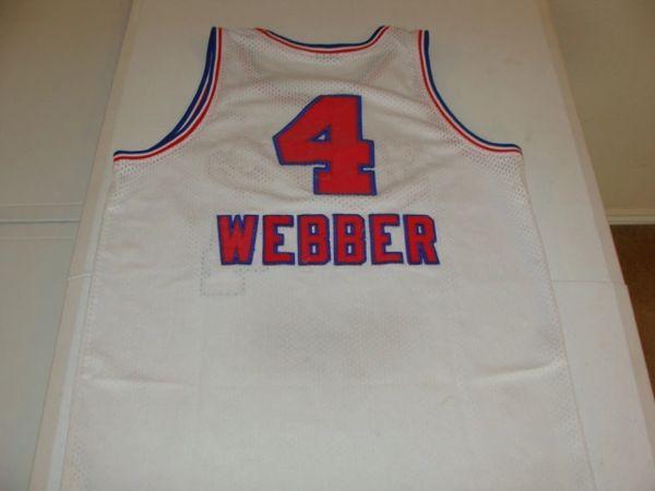 e70846d1e  4 CHRIS WEBBER Sacramento Kings NBA PF C White Throwback Youth Jersey