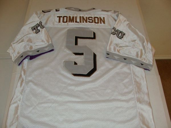 2db12fad26d #5 LaDAINIAN TOMLINSON TCU Horned Frogs NCAA RB White Throwback Youth Jersey  | Lone Star Throwbacks