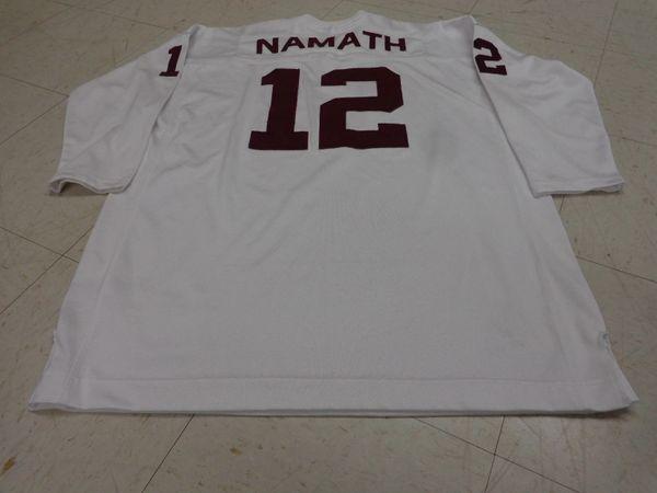 12 JOE NAMATH Alabama Crimson Tide NCAA QB White Throwback Jersey ... c3effbf4f